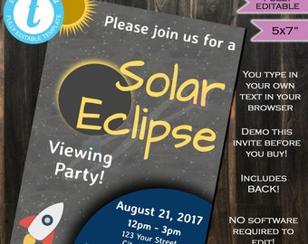Solar Eclipse Invitation- Total Solar Eclipse 2017- Sun Moon- Solar Eclipse Viewing Party- August 21- Personalize 5x7 INSTANT Self-EDITABLE