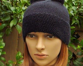 KitKat Hat, Black Kitty  cat hat beanie ear cap knit kitty