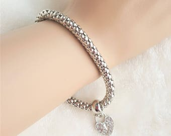 Silver Tone Stretch Metal Mesh Bracelet with Rhinestone Heart Charm, Silver Mesh Stretch Bracelet