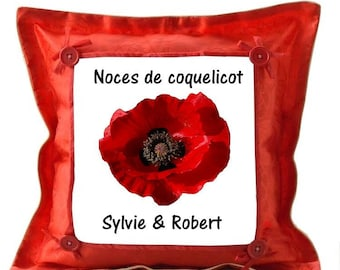 Personalized with name poppy wedding red cushion