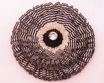 Black and White Pleated Striped Cocarde Cockade Applique