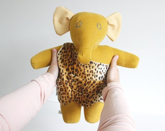 Caveman elephant plush doll - Stuffed animal fabric doll - Fro the O'Fantie - Cuddly plush doll - Kids toy for boys and girls - Kids gift
