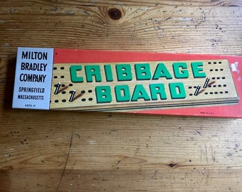 Vintage Cribbage Board made in the US Lowe Milton Bradley games  Hardwood  metal pegs