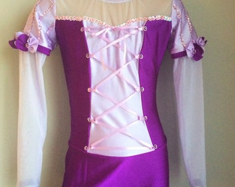 Princess Rapunzel Inspired Gymnastics Unitard. Dancewear.  Long sleeve Unitard. Performance Unitard. SIZES 2T - Girls 12