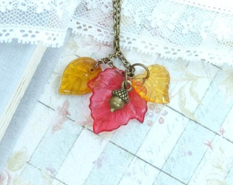 Leaf Charm Necklace Fall Leaf Necklace Autumn Jewelry Leaves Necklace Nature Necklace Autumn Necklace
