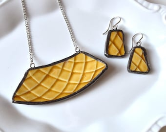 Broken China Jewelry Pendant and Earring Set- Mustard Yellow Teacup