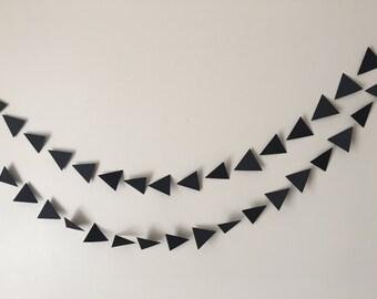 Black geometric triangle paper  garland, wedding garland, bridal and baby shower garland, party garland,