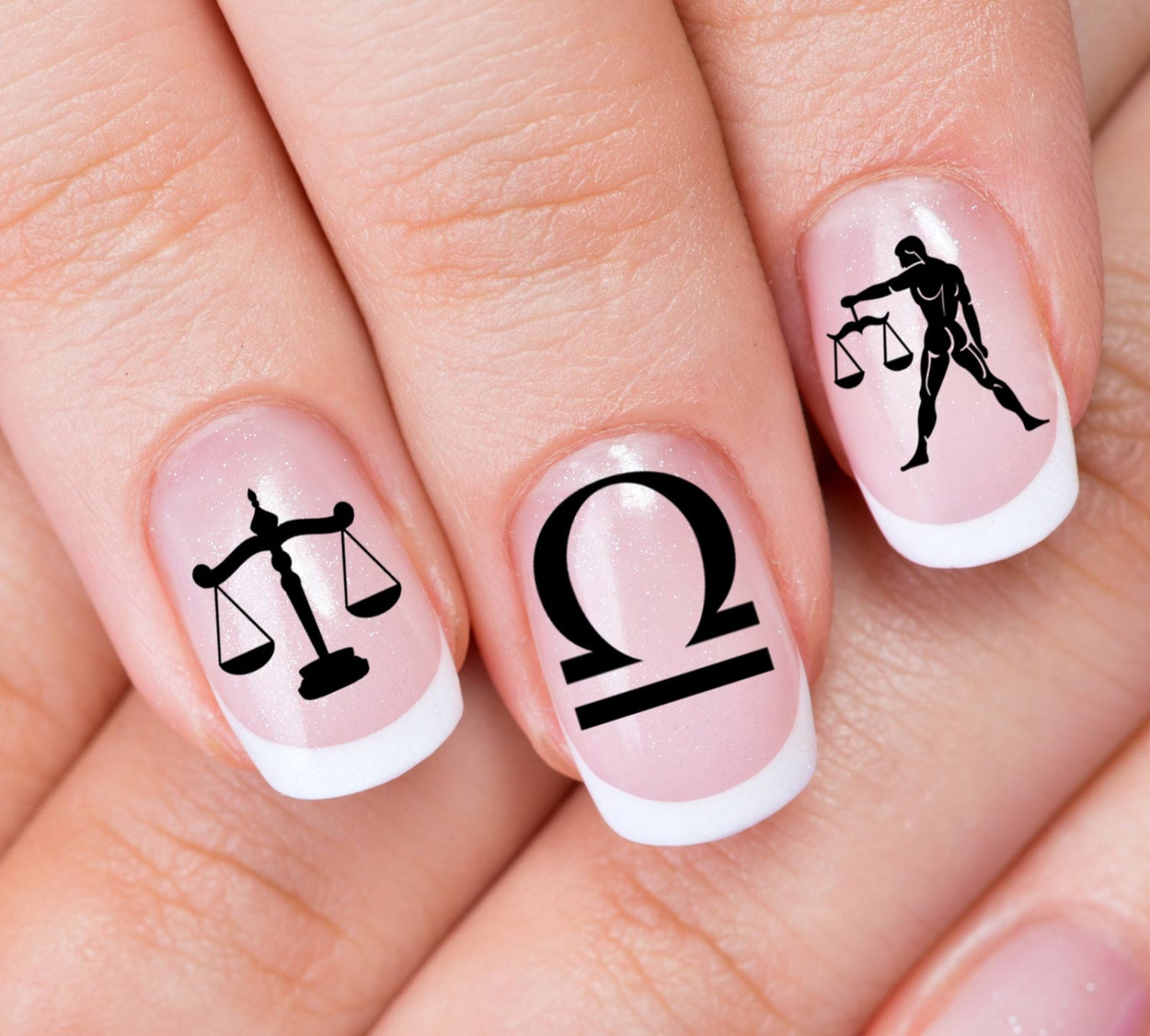 LIBRA Nail Art (ZLB) 30 ZODIAC Astrology Symbols Scales of Justice ...
