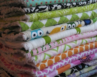 DESIGN YOUR OWN - Set of 3 Baby Burp Cloths Chenille - You Choose Fabrics