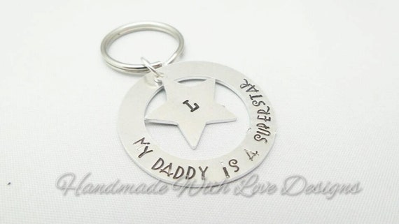 Superstar Hand Stamped Keyring