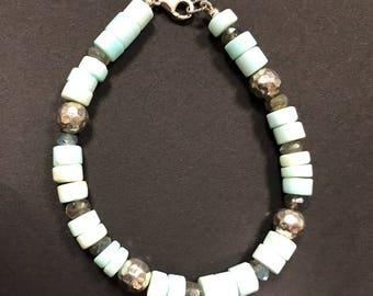 Peruvian Opal, Labradorite and Artisan Hammered Sterling Silver Beads Bracelet