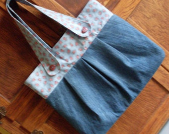 Retro Blue Jean Denim Purse Blue with Red Heart trim and linning