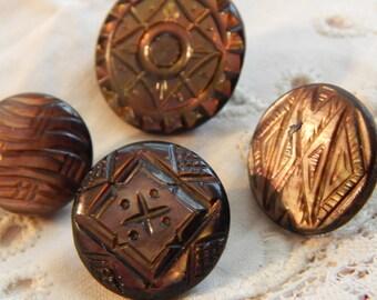 Cut Design Dark Shell Buttons - 4 Different Designs