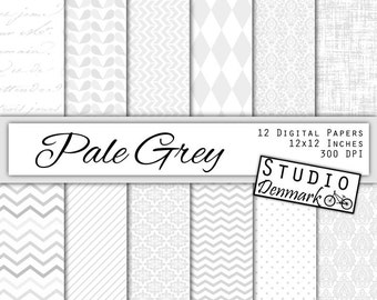 Pale Grey Patterns Digital Paper - 12 Elegant Gray Wedding Papers - Commercial Use Damask / Chevron - 12x12in 300 dpi jpg - Instant Download