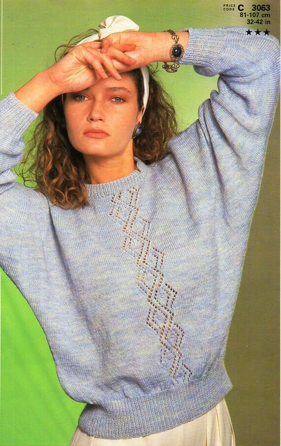 womens 4ply dolman sweater knitting pattern PDF ladies dolman sleeve ...