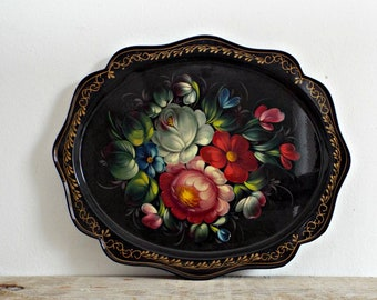oval FLORAL TRAY metal serving dish russian black with flowers serving plate platter made in USSR stunning shabby chic decor