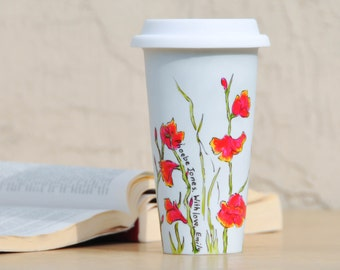 Personalized Ceramic Travel Mug - Made to Order Flower Eco-Cup - Pink, Green and White Coffee Cup - Mother's Day Mug with Lid