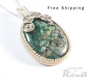 Green agate pendant, Lace agate gemstone, Lace agate necklace, wire wrapped pendant, Crazy Lace agate gemstone, Mothers day gift, Valentines