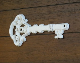 Wall Skeleton Key Decor or Paperweight / Cast Iron / Vintage Inspired / Antique White or Pick Your Color / Shabby Chic Wall Decor