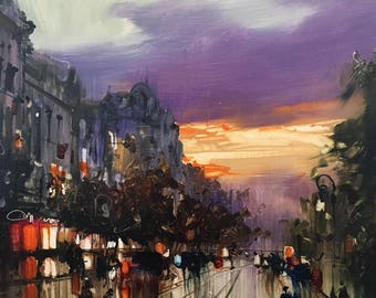Old Town Street Oil Painting on Canvas