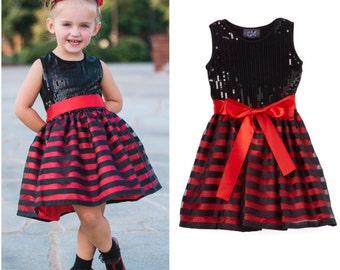 Black & Red Striped Sequin Dress - Infant, Toddler, Girls