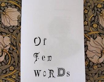 Of Few Words zine
