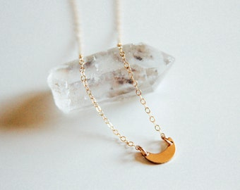 "Crescent Moon Choker Necklace, 13-15"" 14k Gold Chain"