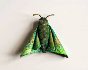 green moth brooch,fiberart, soft sculpture,