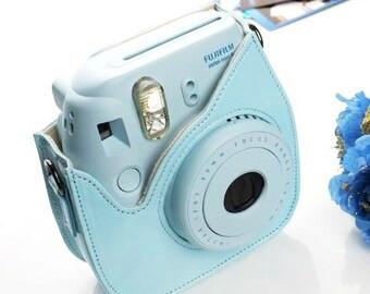 Fujifilm Instax Mini 8 9 Camera Bag Blue Leather Protection Case
