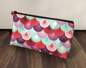 Zippered makeup pouch or diabetic supply bag in a Tula Pink chain mail fabric