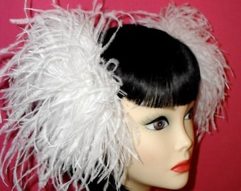 Custom Made White Ostrich Feather Hair Clips,Ostrich Feathers,White Feathers,Cosplay,Cyber,Hair Falls,Hair Poofs,Hair Clips,Feathers,Bridal