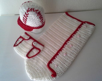 Baby Baseball Cocoon, Hat and Diaper Cover Set