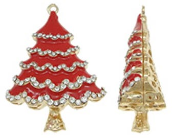 1PC Red enamel with rhinestones hollow Christmas tree pendant-F41