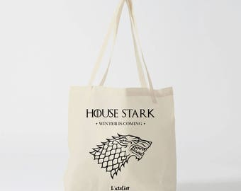 X476Y tote bag house stark winter is coming, game of thrones, cotton bag, tote bag, GOT series tv, bag, shopping bag quote, coworker