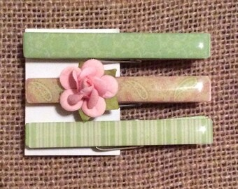 Set of 3 clothespins - Altered Embellished Wedding Favor Party