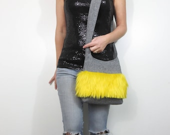 crossbody bag faux fur shag purse. black linen blend purse accented with fur ball color of your choice.