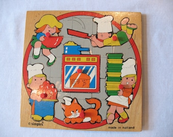 Simplex made in Holland ~ Vintage Wooden Puzzle ~ Baking and Cooking