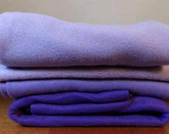 Lot of 4 Pieces of Fleece Purples New and Unwashed F40