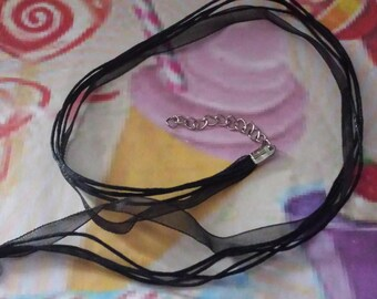 Black Organza Ribbon necklaces and 43cm waxed cotton thread