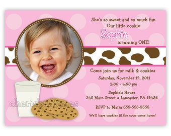 Milk And Cookies Photo Birthday Invitation Girl or Boy (You Print)