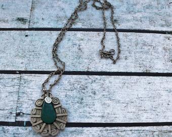 Turquoise and swirl Necklace, Boho Gemstone Necklace, m14
