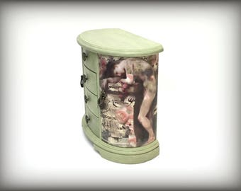 Jewelry Box, Green Jewelry Armoire, Hand Painted, Gift for Her, Personalize, Add Monogram, OOAK, Girlfriend Gift For Wife, Unique Gift