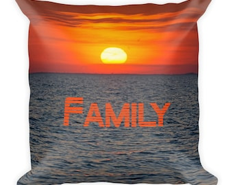 Family Cushion Throw Pillow Sunset, With Words Saying, Lake Paradise Home Love, Accent 18 x 18 Nature For Couch Bed Modern Square Colorful