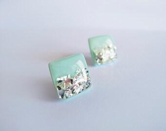 Mint Silver Square Stud Earrings - Hypoallergenic Titanium Posts