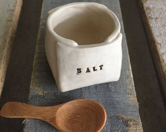 SALT cellar with wooden spoon