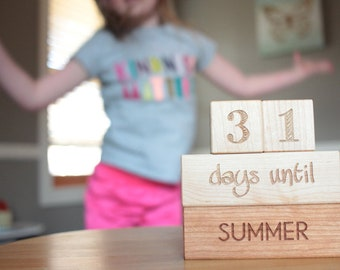 wooden countdown blocks - natural wood home decor blocks, days until Christmas, birthday, summer, vacation - playroom or family room decor