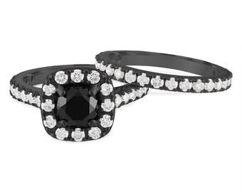 2.65 Carat Black Diamond Engagement Ring Set, Vintage Black Diamond Wedding Ring Set, 14k Black Gold Unique Handmade Certified