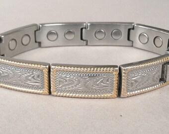 Sabona 18K Gold Trim Stainless Steel Magnetic Bracelet