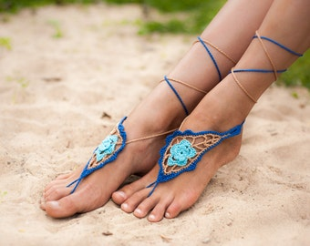 Azure Crochet Barefoot sandals, Nude shoes, Foot hippie jewelry, Victorian Lace, Sexy Yoga, Paisley, Feet thongs, Fashion accessory, Gift
