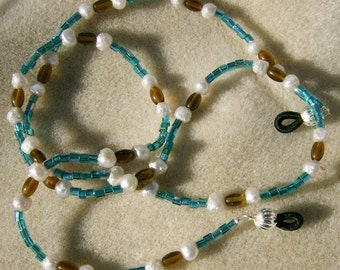 Handmade Eyeglass Lanyard- Bright and Cheerful, Teal & Amber Glass Beads with White Fresh Water Pearls by JewelryArtistry - L227